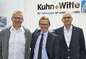 Partner in Sachen IT-gestütztes Controlling: Oliver Bohn (Mitte), Geschäftsführer bei Kuhn + Witte, Normen Baber, Genesys-Kundenberater und Projektmanager, und Bernhard Achter, Chef der Softwareschmiede Genesys